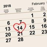 14 de fevereiro de 2018 dia de Valentim de Saint Forma do coração da data do lembrete do calendário Imagem de Stock