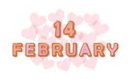 14 de fevereiro letras doces dos desenhos animados Projeto do dia de Valentim Fotos de Stock Royalty Free