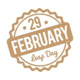29 de fevereiro marrom do carimbo de borracha do dia de pulo em um fundo branco Ilustração Stock