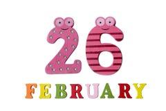 26 de fevereiro no fundo, nos números e nas letras brancos Fotografia de Stock