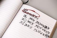 14 de fevereiro, o dia de são valentim, compra floresce o texto Imagens de Stock Royalty Free