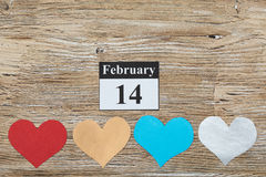 14 de fevereiro, o dia de Valentim, coração do papel Fotografia de Stock Royalty Free