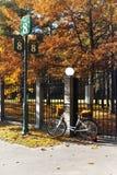 De fiets met gele bladeren in rijs schoeide dichtbij omheining in de herfst p royalty-vrije stock foto