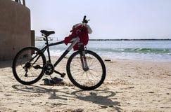 De fiets is op de kust terwijl het zwemmen van eigenaar stock afbeelding