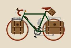 De fiets van de fietsillustratie het grafische uitstekende het cirkelen donkergroen Reizen stock illustratie