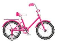 De fiets van jonge geitjes voor een meisjesillustratie Stock Fotografie