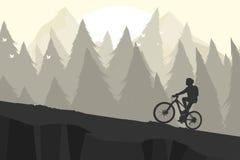 De fiets van de silhouetberg Stock Afbeeldingen