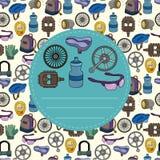 De fietsapparatuur van het beeldverhaal naadloos patroon Stock Foto's