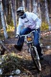 De fietscompetities van de berg in Halloween Stock Afbeelding