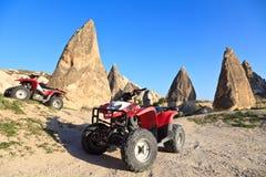 De fietsen van de vierling in Cappadocia, Turkije Stock Foto