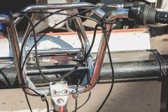 De fietsen Vodafone die Bicing, een fiets van de dienstvoertuigen sys delen Stock Foto