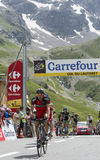 De Fietser Amael Moinard op Col. du Lautaret - Ronde van Frankrijk 20 Stock Foto's