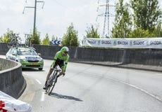 De Fietser Bauke Mollema - Ronde van Frankrijk 2014 Royalty-vrije Stock Afbeeldingen