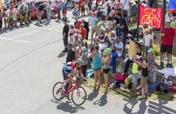 De Fietser Bob Jungels op Col. du Glandon - Ronde van Frankrijk 2015 stock afbeelding