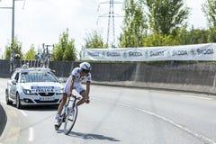 De Fietser Brice Feillu - Ronde van Frankrijk 2014 Stock Afbeeldingen