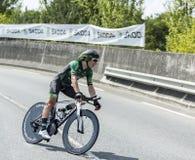 De Fietser Cyril Gautier - Ronde van Frankrijk 2014 Royalty-vrije Stock Afbeeldingen