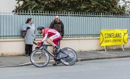 De Fietser Cyril Lemoine - Parijs-Nice 2016 Stock Afbeelding
