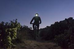 De fietser daalt de heuvel bij nacht Stock Afbeeldingen