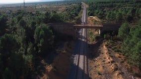 De fietser die van de bergfiets brug over lijn, contra-gezoem kruisen stock footage