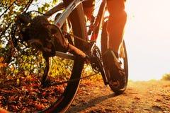 De fietser die van de bergfiets enig spoor berijden openlucht Royalty-vrije Stock Fotografie