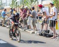 De Fietser Dominik Nerz - Ronde van Frankrijk 2015 Royalty-vrije Stock Foto