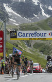 De Fietser Geraint Thomason Col du Lautaret - Ronde van Frankrijk 20 Stock Afbeeldingen