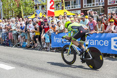 De Fietser Jack Bauer - Ronde van Frankrijk 2015 Stock Foto