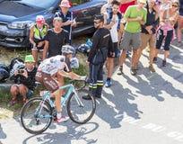 De Fietser Jan Bakelants op Col. du Glandon - Ronde van Frankrijk 201 Stock Afbeelding