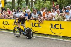 De Fietser Johan Vansummeren - Ronde van Frankrijk 2015 Royalty-vrije Stock Afbeeldingen