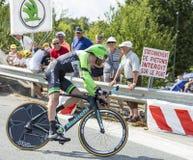 De Fietser Laurens Ten Dam - Ronde van Frankrijk 2014 Stock Afbeelding