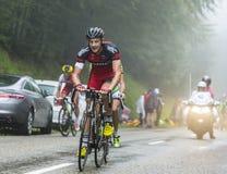De Fietser Marcus Burghardt Climbing Col du Platzerwasel - Ronde van Frankrijk 2014 Stock Afbeelding