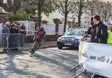 De fietser Mathias Frank- Parijs Nice 2013 Prologu Stock Afbeelding