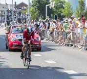 De Fietser Nicolas Edet - Ronde van Frankrijk 2015 Royalty-vrije Stock Afbeeldingen