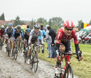De Fietser Romain Bardet op Cobbled-Road - Ronde van Frankrijk 201 Royalty-vrije Stock Afbeelding