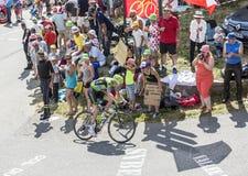 De Fietser Ryder Hesjedal op Col. du Glandon - Ronde van Frankrijk 20 royalty-vrije stock afbeeldingen