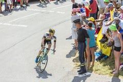 De Fietser Steven Kruijswijk op Col. du Glandon - Ronde van Frankrijk Royalty-vrije Stock Foto's