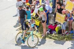 De Fietser Steven Kruijswijk op Col. du Glandon - Ronde van Frankrijk royalty-vrije stock foto