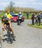 De Fietser Sylvain Chavanel - Parijs Roubaix 2016 Stock Afbeeldingen