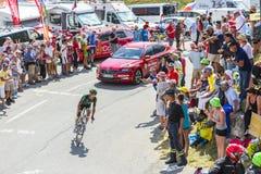 De Fietser Thomas Voeckler op Col. du Glandon - Ronde van Frankrijk 2 stock afbeelding