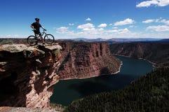 De fietser van de berg Stock Afbeeldingen