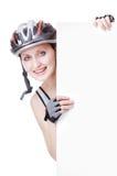 De fietser van de vrouw Stock Foto's
