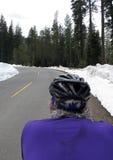 De fietser van de weg in sneeuw royalty-vrije stock afbeeldingen