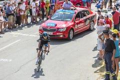 De Fietser Wout Poels op Col. du Glandon - Ronde van Frankrijk 2015 Royalty-vrije Stock Afbeeldingen