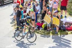 De Fietser Wout Poels op Col. du Glandon - Ronde van Frankrijk 2015 stock afbeelding
