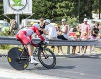 De Fietser Yury Trofimov - Ronde van Frankrijk 2014 Stock Fotografie