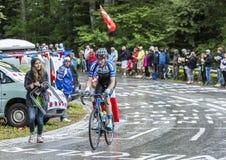 De Fietser Zakkari Dempster - Ronde van Frankrijk 2014 Stock Fotografie
