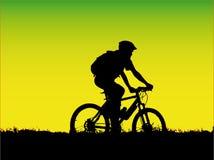 De fietsermeisje van de berg Stock Foto