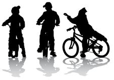De fietsers groeperen tiener vector illustratie