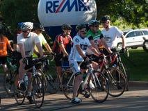 De fietsers rennen Stock Foto's