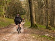 De fietsers van de berg op vuil volgen Royalty-vrije Stock Foto